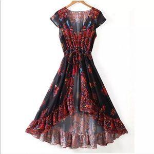 cc1f8b2a0d Dresses - Black Floral Ruffle High-Low Bohemian Maxi Dress L